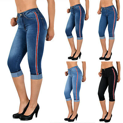 Donna Capri Jeans High Waist Con Strisce Laterali Capri Da Donna Con Strisce J140-mostra Il Titolo Originale