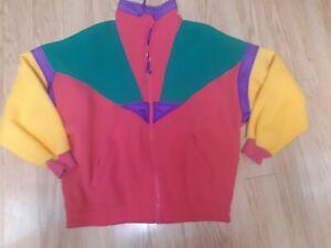 Vintage Andy Johns Jacket Coat Color Block 90's Fleece Full Zip Womens Size Med