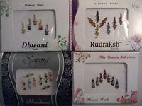 4 Pack Diamante Bindis-Stick On Bollywood Indian Body Art Tattoo Jewel Mixed 4