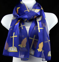 Cross & Prayers Womens Christian Religious Bible Scarf Gift Blue Scarves