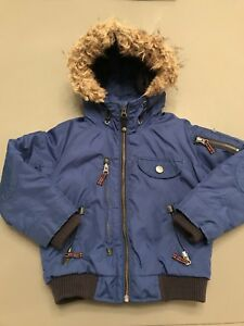 1b0a95f25 Details about Next Boys Padded Blue Fur Hooded Bomber Jacket / Coat. Age 3  years.