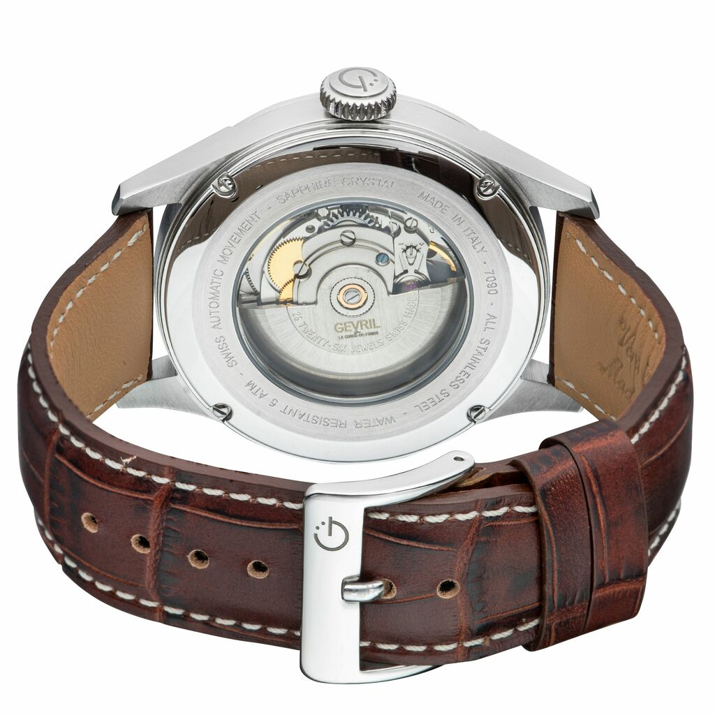 Gevril Men's 4251A Five Points Swiss Automatic Sellita SW200 Brown Leather Watch | Ebay