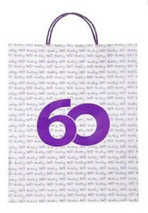 Image Is Loading TWO 60TH Sixty Birthday Gift Bags Purple White