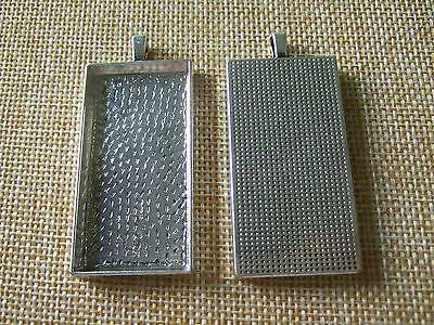 10pcs Antique Silver Rectangle Trays Pendant Blank Bezel Cameo Cabochon Setting