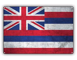Hawaii-State-Flag-USA-Vintage-Look-Aluminum-Metal-Wall-Art