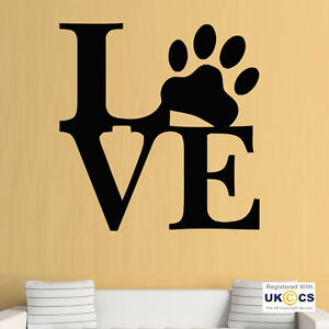 Amor perro gato mascota huella de pata frases pared mural - Pegatinas pared frases ...