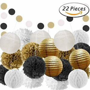 Details About Black And Gold Party Decorations For Birthday Anniversary Wedding Graduation