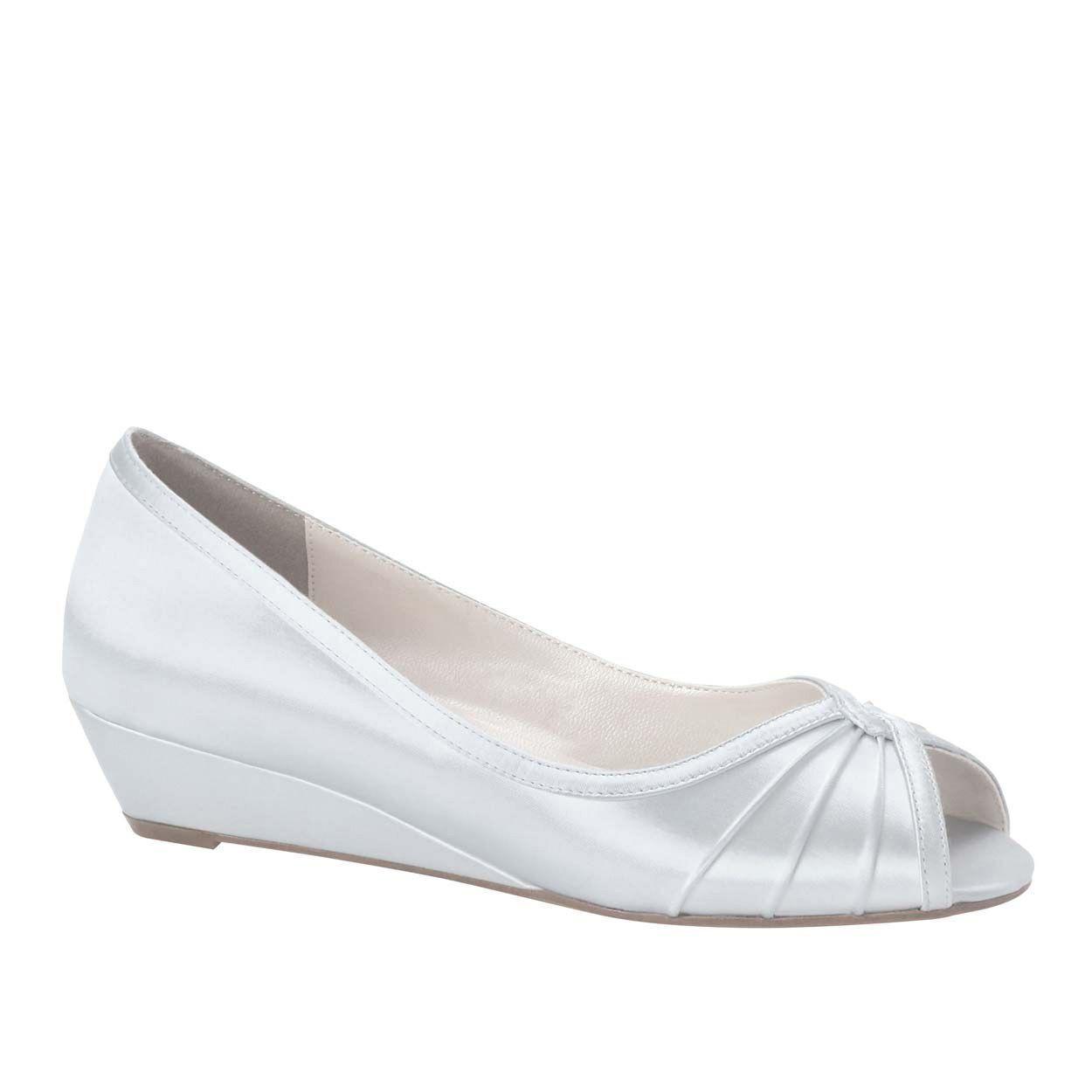 Damens's Touch Ups Honey Low Heel Wedge WEISS Größe 10.5 #NCMTO-M82