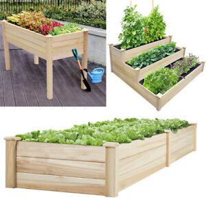 Rectangle Wooden Garden Planter Vegetable Flower Plant Box Pot Trough New