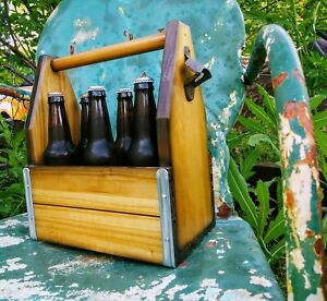 Details About Wooden 6 Pack Beer Carrier With Bottle Opener