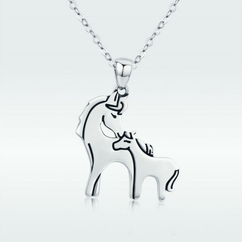 925 Sterling Silver Horse Mother and Son Charm Pendant Necklace Chain Jewelry