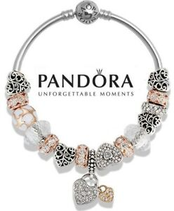 Details about Authentic Pandora Moments Bangle S925 Silver Gold Bracelet w/  Heart Bead Charms