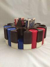 Vtg 1960's Plastic Poker Chip Set with Revolving Carousel Caddy