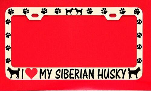 I Love My Siberian Husky License Plate Frame Tag Dog Paw Weatherproof Vinyl