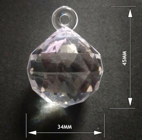 Remplacement Acrylique Cristal Pendentif lustre Globo /& autres diamètre 34 mm