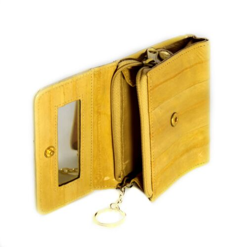 Lee Sands Eelskin Yellow Coin Purse with ID Window Key Ring and Mirror
