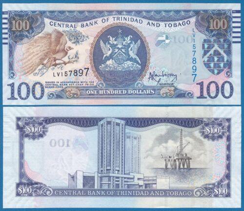 Low Shipping! Trinidad and Tobago 100 Dollars UNC P 51 New design 2006 2014