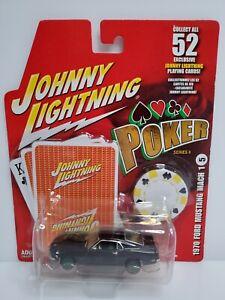 Rare-Johnny-Lightning-Poker-1970-Ford-Mustang-Mach-1-White-Lightning-Chase-Black