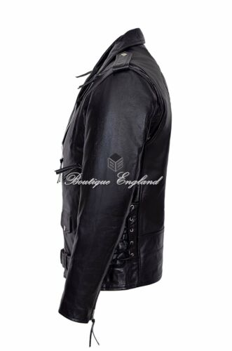 Men/'s Leather Motorcycle Jacket Black EMBOSSED RED INDIAN BACK COWHIDE LEATHER