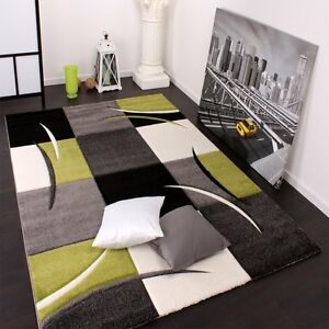Modern Grey Green Black Checkered Rug For Living Room Hall Runner