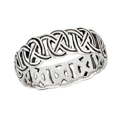 Genuine .925 Sterling Silver Mirror Image Celtic Trinity Knots Ring