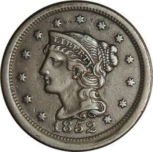 1852 1C Braided Hair Large Cent  XF+ Condition (050221305)