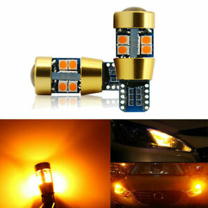 2x-Amber-T10-15W-3030-19SMD-Canbus-Error-Free-LED-Parking-Light-Lamp-Bulbs-6000K