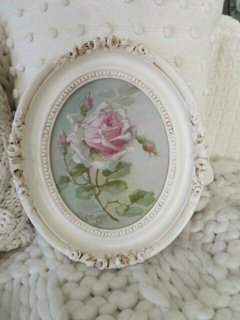 GORGEOUS Christie REPASY Canvas Print Pink ROSES in OVAL White Vintage FRAME on eBay thumbnail