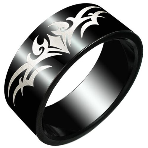 Mens Ring Stainless Steel Tribal Stainless Steel Ring Black