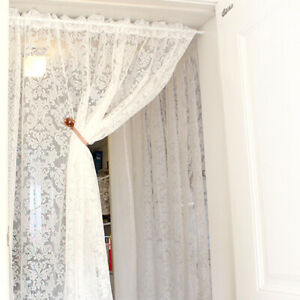 White-Lace-Floral-Door-Curtain-Panel-Mosquito-Fly-Insect-Room-Divider-Rod-Packet
