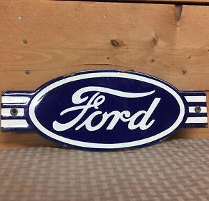 Rara Vintage Ford Motors Die Cut Genuine Parts Porcelana Cartel De Publicidad Ebay