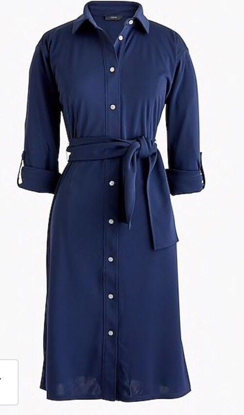 """NEW JCREW Tie-waist knit shirtdress SizeM In Navy J3216 SU""""18"""