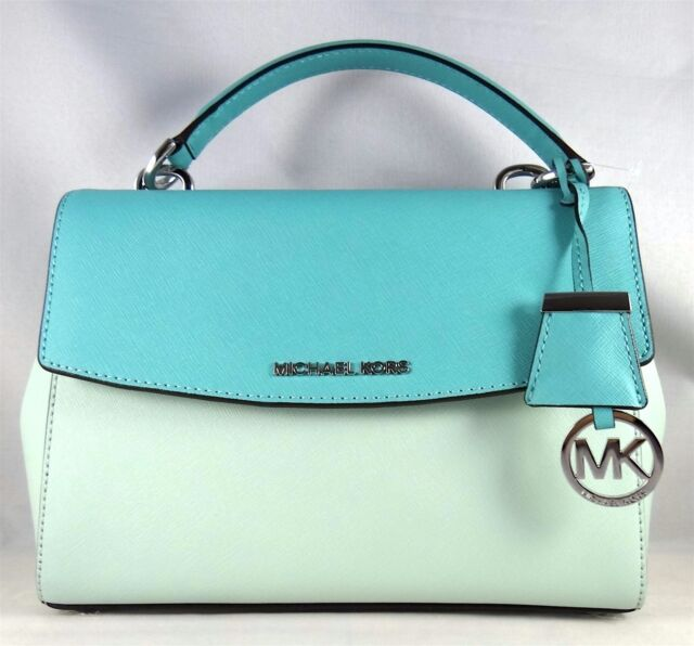 d0091e1e9b543a Michael Kors Ava Small Top Handle Saffiano Leather Satchel Celadon Azure  Silver