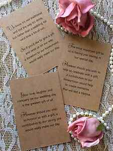 Image Is Loading 25 50 WEDDING GIFT MONEY POEM SMALL CARDS