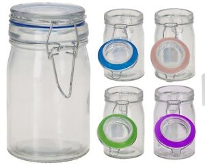 Image Is Loading 6 Mini Clear Glass Clip Top Storage Jar