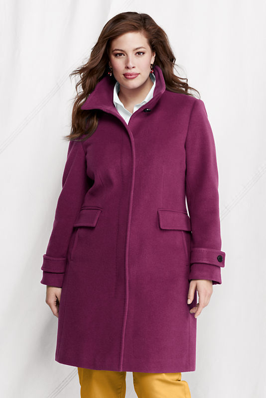 New  Lands End Womens Italian Wool Cashmere Car Coat Berry purple Size 4