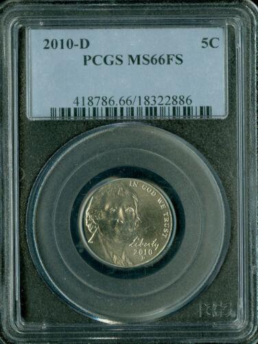 2010-D JEFFERSON NICKEL PCGSMS66 FS 2ND FINEST REGISTRY  *