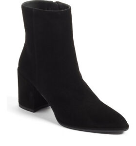 $575 Size 10 Stuart Weitzman Cling Sock Black Suede Booties Heel Womens Shoes Boots Women's Shoes