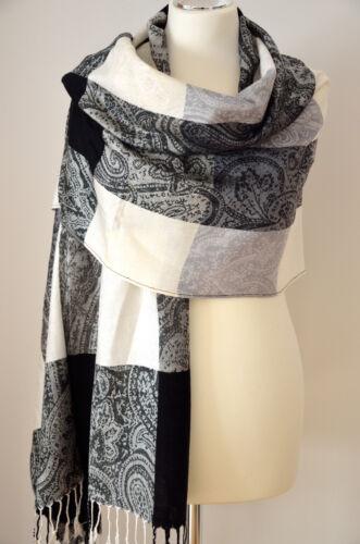 Un Pashmina Écharpe Paisley tissés 100/% Viscose Noir Gris Blanc À Carreaux Env 190x70cm