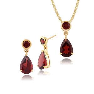 Gemondo 9ct Yellow Gold Ruby /& Diamond Pear Drop Earrings /& 45cm Necklace Set