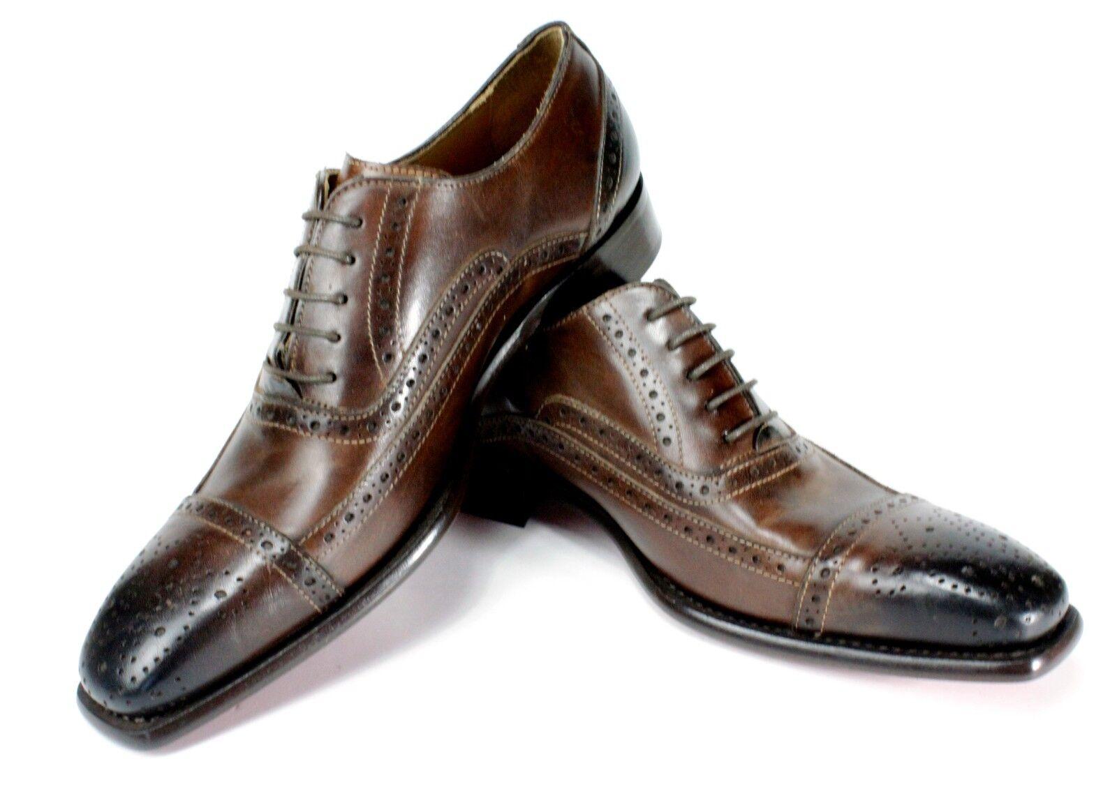 Ivan Troy Vaqueros Café Hecho a Mano Cuero Italiano Zapatos Vestido Oxford