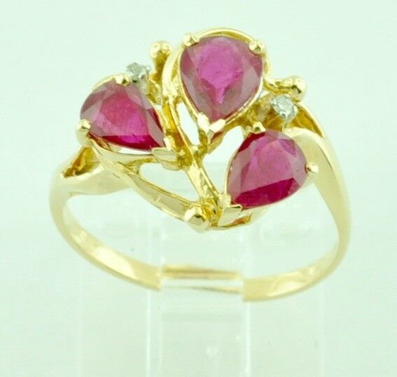 1.21 14k Solid Yellow Gold Natural Pear Shape Natural Ruby Diamond Ring Cocktail