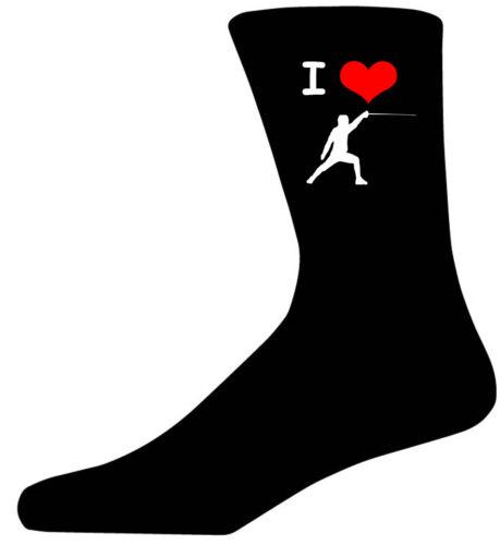Black Cotton Novelty Socks I Love Fencing Picture Socks Adult UK 5-12