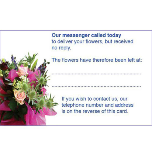 Gift Instructions Flower Care Florist Care Cards x 50 Missed Calling Cards
