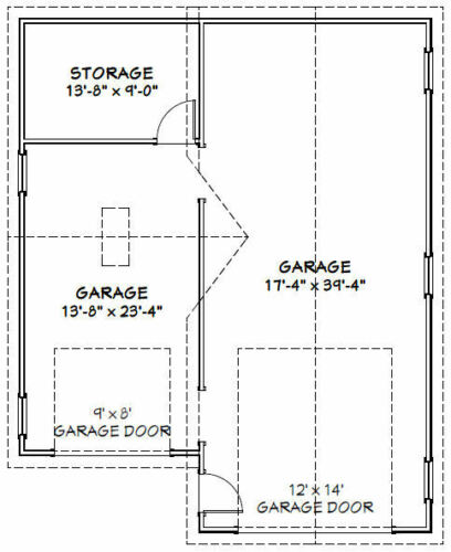32x40 1 RV 1 Car Garage Model 2 PDF Floor Plan 1,197 sq ft
