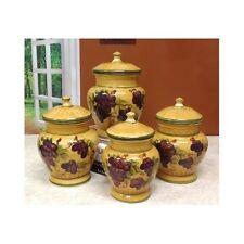 Food Coffee Grain Sugar Storage Organizer Canister Set 4 Jars Kitchen  Decoration