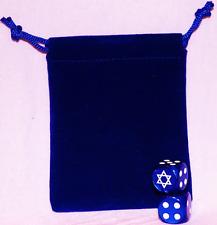Custom D6 Dice Pair w/ Pouch - STAR OF DAVID - ISRAEL - HEBREW