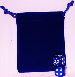 STAR OF DAVID HEBREW Custom D6 Dice Pair w// Pouch ISRAEL