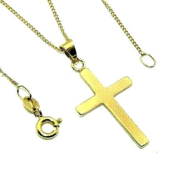 Ladies womens 9ct 9carat yellow gold plain cross pendant on a fine curb chain