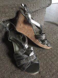 e54254598814 Image is loading Kelly-amp-Katie-Wedge-Cork-and-Metallic-Sandals-